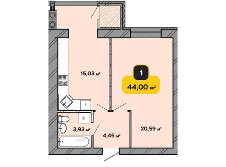 Планування 1-кімнатної квартири в ЖК Студентський 44 м², фото 224169
