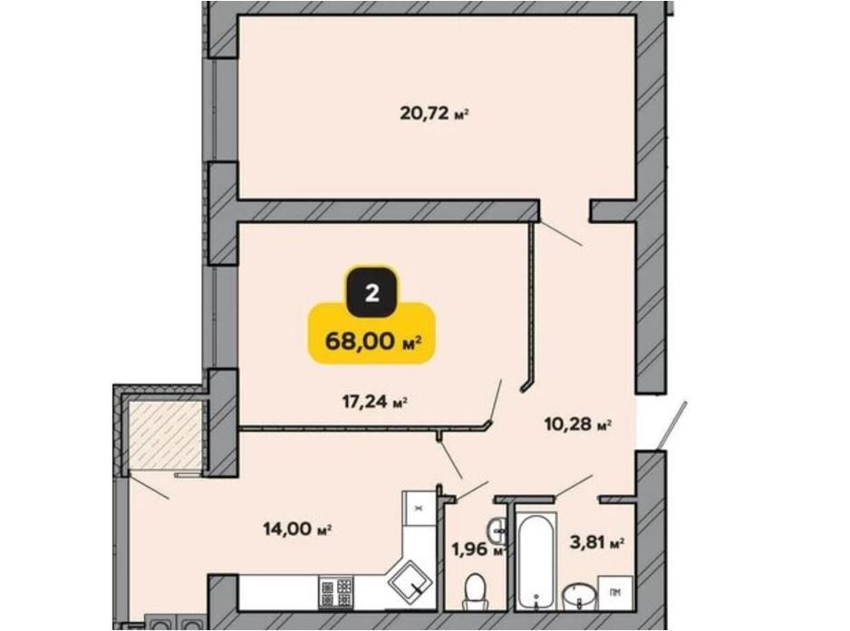 Планування 2-кімнатної квартири в ЖК Студентський 68 м², фото 224170