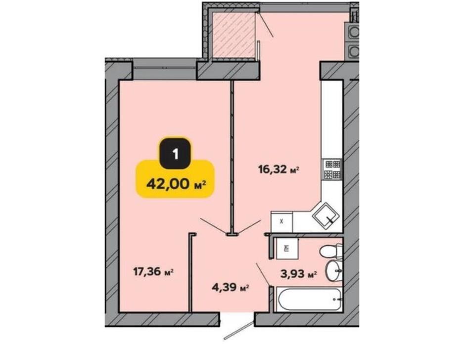 Планування 1-кімнатної квартири в ЖК Студентський 42 м², фото 224171