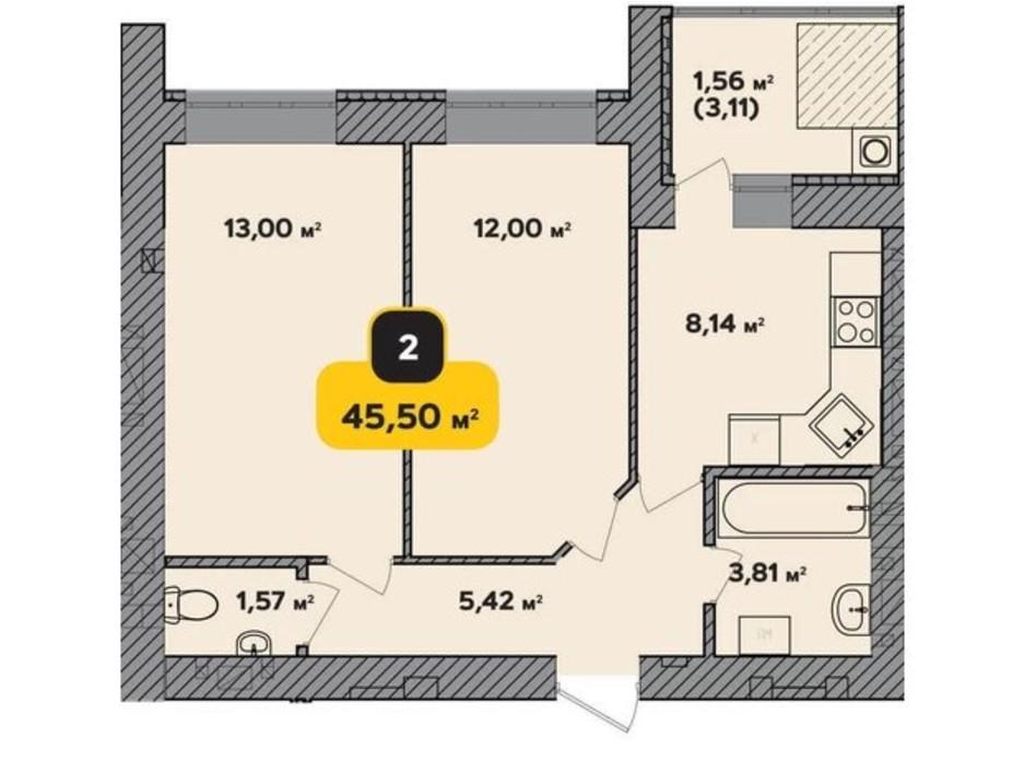 Планування 2-кімнатної квартири в ЖК Студентський 45.5 м², фото 224175