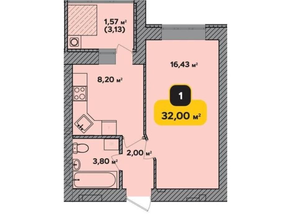 Планировка 1-комнатной квартиры в ЖК Студенческий 32 м², фото 224176