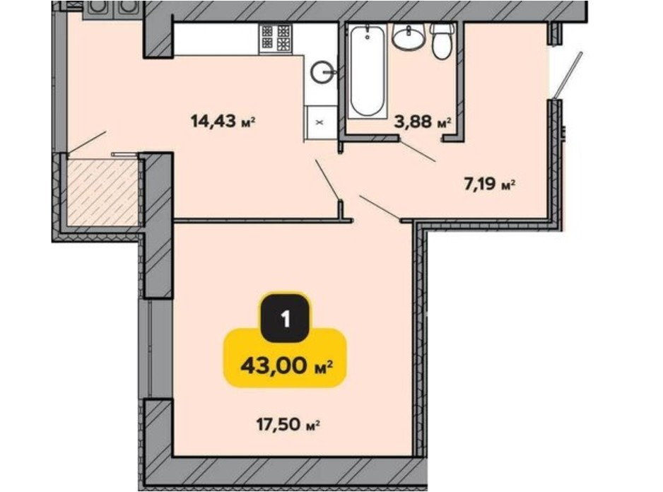 Планування 1-кімнатної квартири в ЖК Студентський 43 м², фото 224179