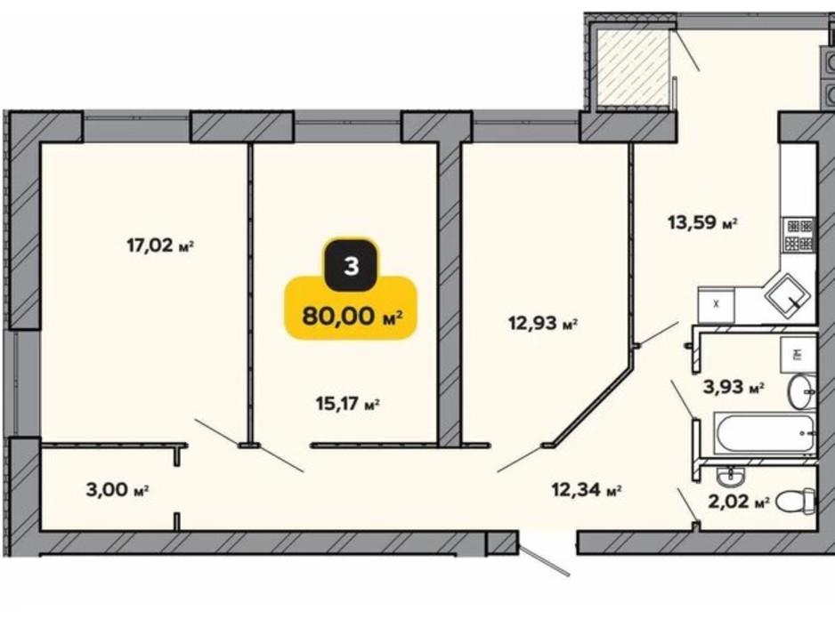 Планировка 3-комнатной квартиры в ЖК Студенческий 80 м², фото 224180