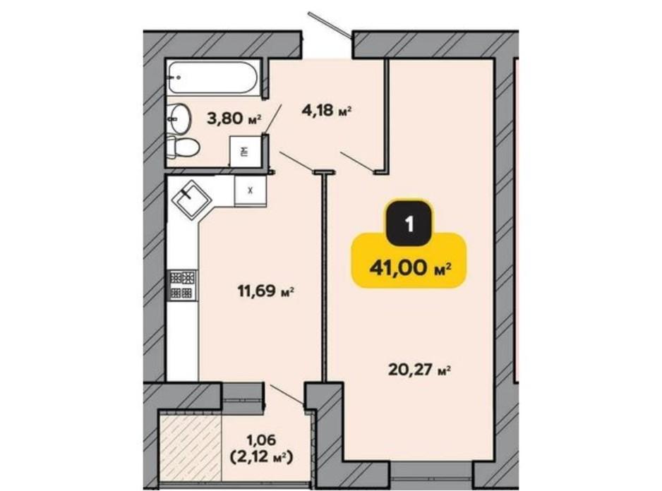 Планировка 1-комнатной квартиры в ЖК Студенческий 41 м², фото 224181
