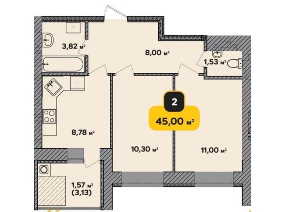Планування 1-кімнатної квартири в ЖК Студентський 45 м², фото 224184