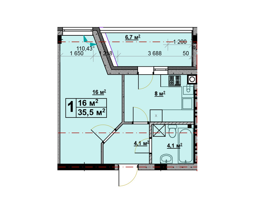 Планировка 1-комнатной квартиры в ЖК Vlasna 35.5 м², фото 224272