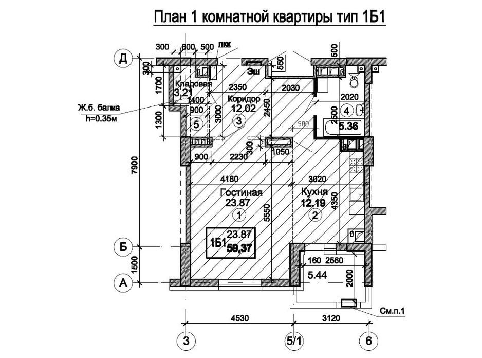 Планировка 1-комнатной квартиры в ЖК Триумф 63.05 м², фото 224737