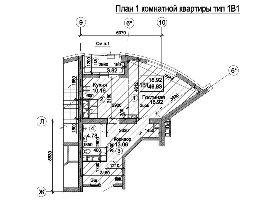 Планировка 1-комнатной квартиры в ЖК Триумф 47.99 м², фото 224738
