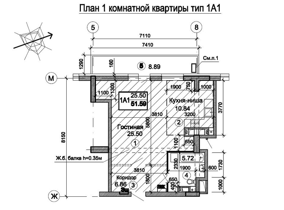 Планировка 1-комнатной квартиры в ЖК Триумф 58.19 м², фото 224740