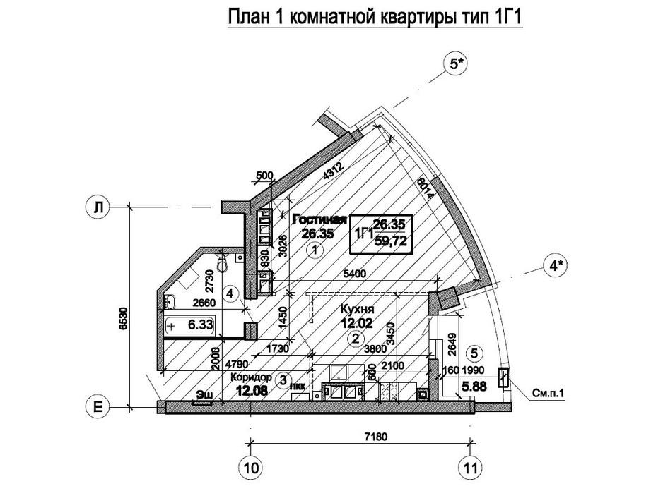 Планировка 1-комнатной квартиры в ЖК Триумф 63.55 м², фото 224741