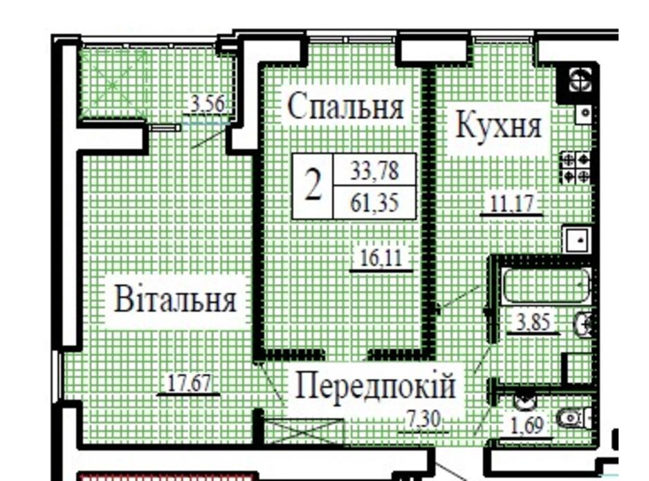 Планировка 2-комнатной квартиры в ЖК Крылья 61.35 м², фото 224780