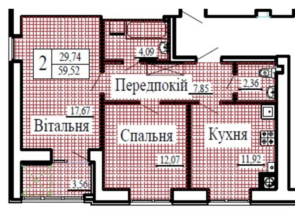 Планировка 2-комнатной квартиры в ЖК Крылья 59.52 м², фото 224781