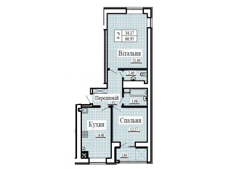 Планування 2-кімнатної квартири в ЖК Крила 66.95 м², фото 224782