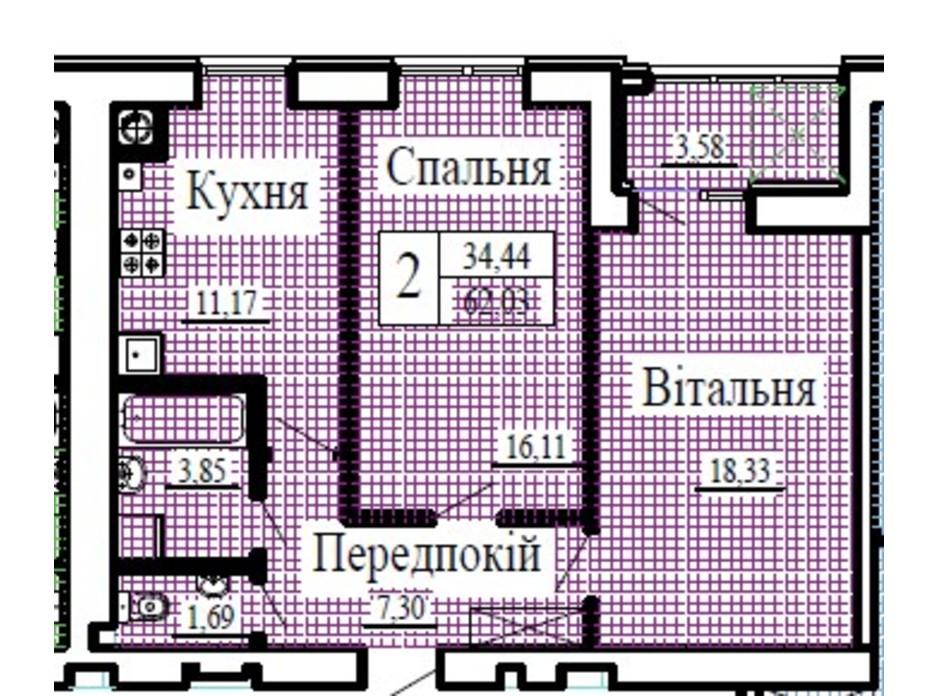 Планировка 2-комнатной квартиры в ЖК Крылья 62.03 м², фото 224783