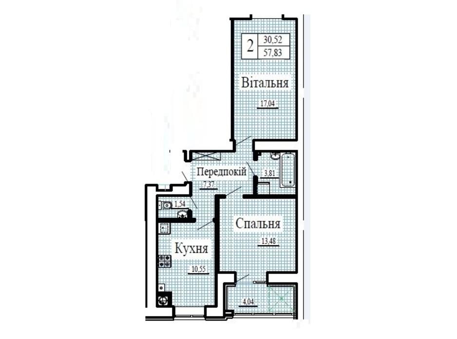 Планировка 2-комнатной квартиры в ЖК Крылья 57.83 м², фото 224785