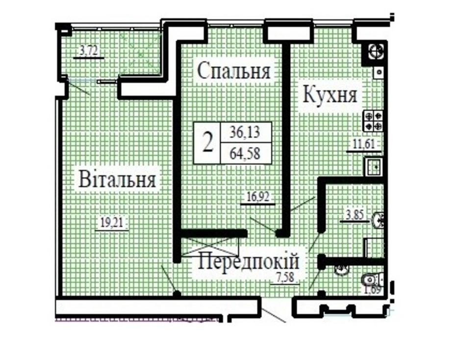 Планування 2-кімнатної квартири в ЖК Крила 64.58 м², фото 224786