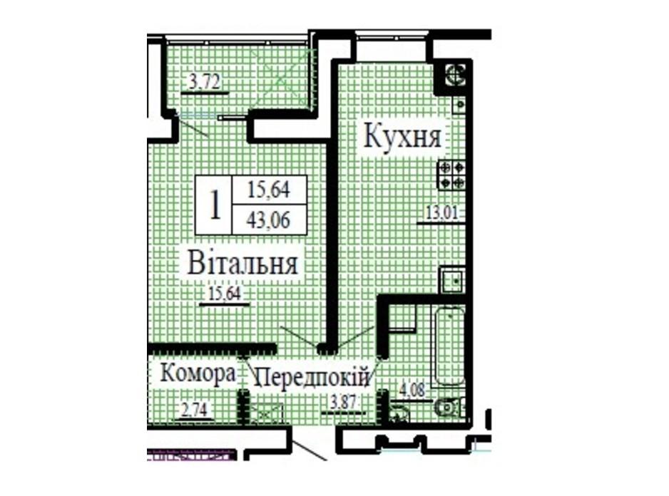 Планування 1-кімнатної квартири в ЖК Крила 43.06 м², фото 224799