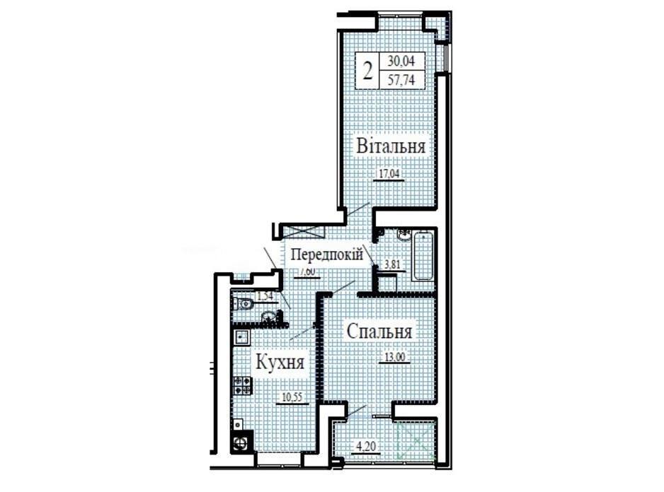 Планування 2-кімнатної квартири в ЖК Крила 57.74 м², фото 224800