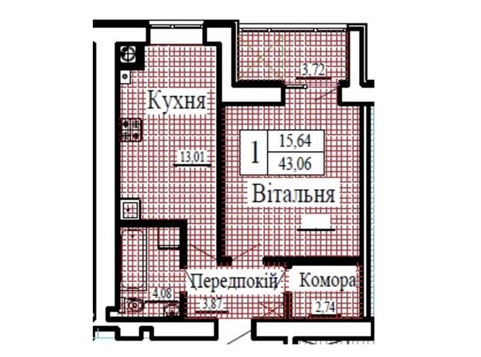 Планировка 1-комнатной квартиры в ЖК Крылья 43.06 м², фото 224802