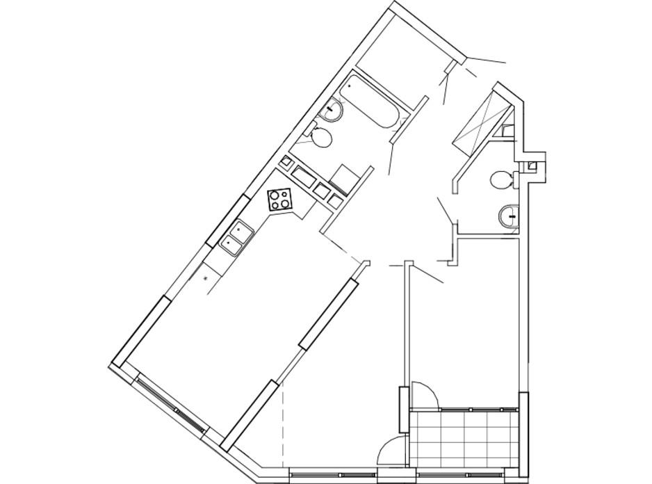 Планування 2-кімнатної квартири в ЖК Great (Грейт) 74.26 м², фото 224865