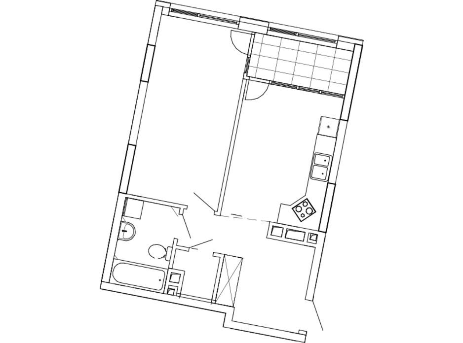 Планування 1-кімнатної квартири в ЖК Great (Грейт) 54.19 м², фото 224873
