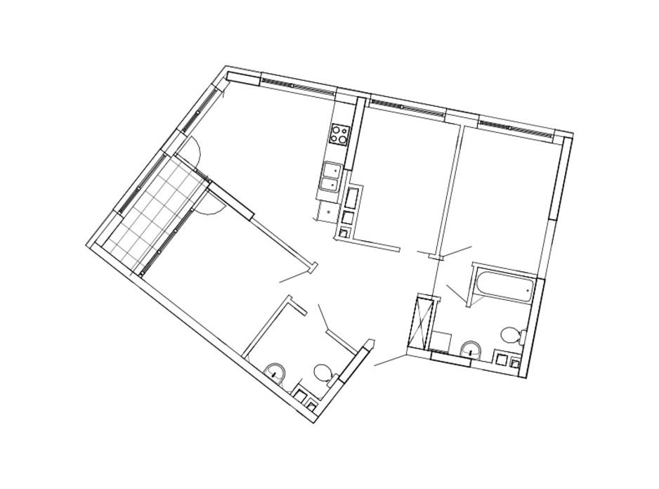 Планировка 3-комнатной квартиры в ЖК Great 80.48 м², фото 224890
