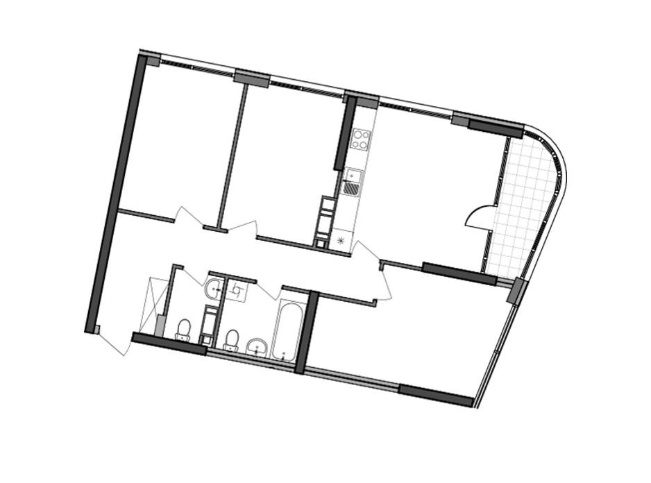 Планування 3-кімнатної квартири в ЖК Great (Грейт) 89.2 м², фото 224924
