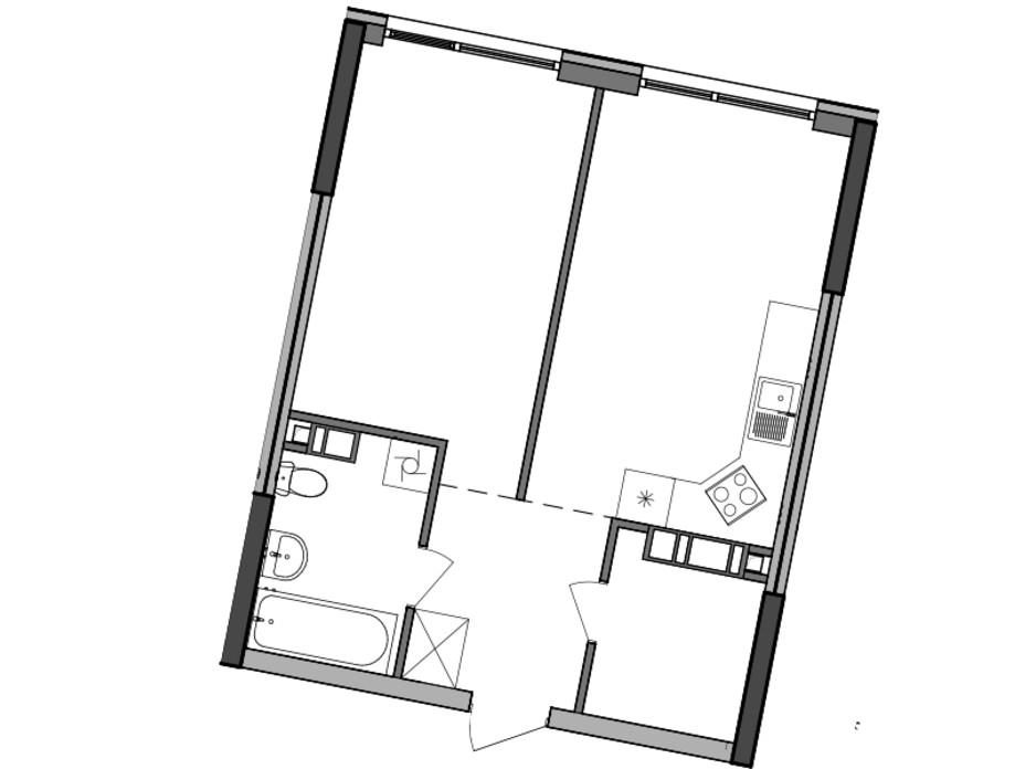 Планировка 1-комнатной квартиры в ЖК Great 47.87 м², фото 224926