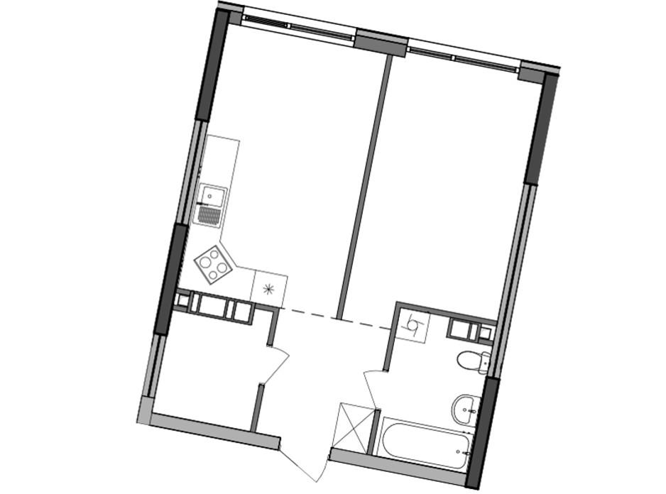 Планування 1-кімнатної квартири в ЖК Great (Грейт) 47.59 м², фото 224927