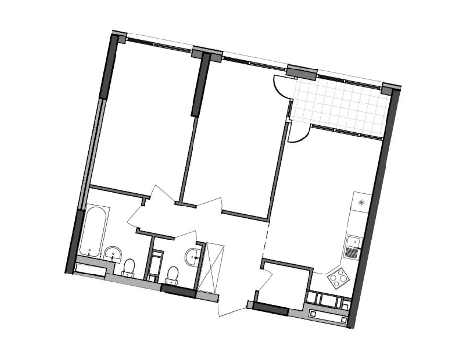 Планировка 2-комнатной квартиры в ЖК Great 70.1 м², фото 224928