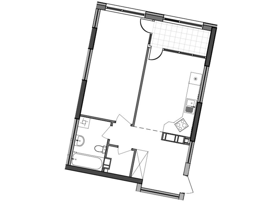 Планування 1-кімнатної квартири в ЖК Great (Грейт) 54.97 м², фото 224929
