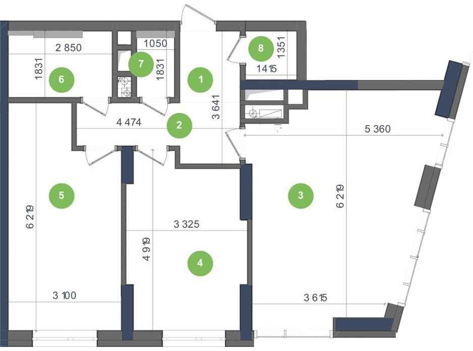 Планування 2-кімнатної квартири в ЖК «Метрополіс» 80.3 м², фото 224951