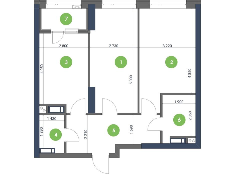 Планування 2-кімнатної квартири в ЖК «Метрополіс» 66.58 м², фото 224952