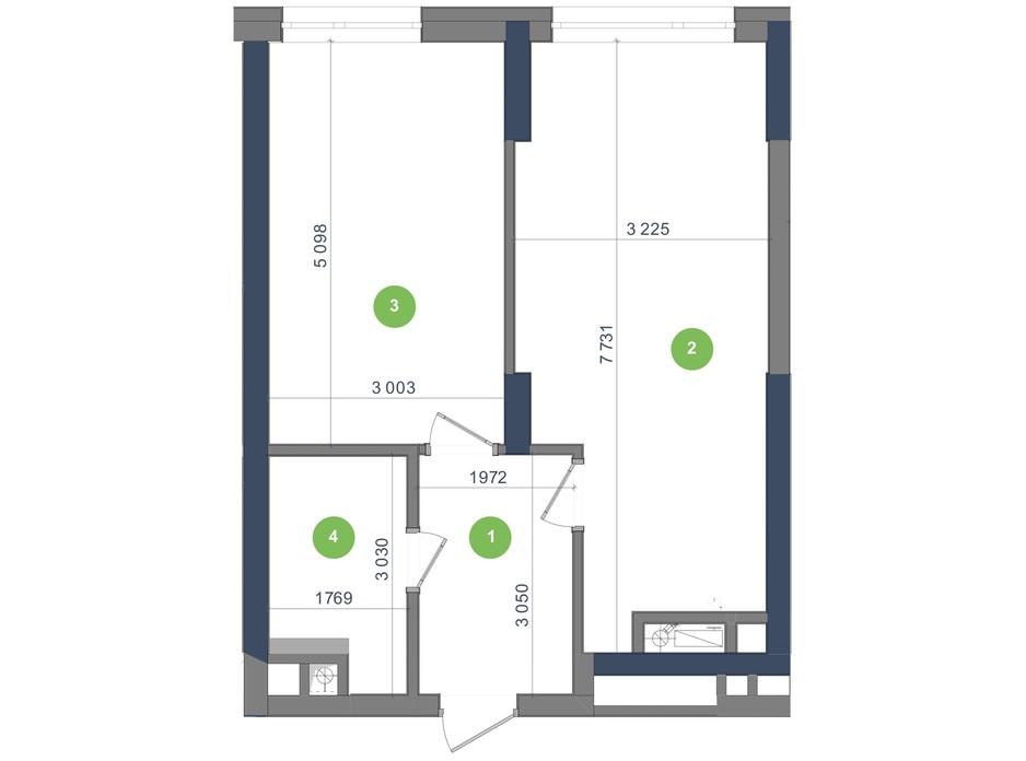 Планування 1-кімнатної квартири в ЖК «Метрополіс» 47.45 м², фото 224954