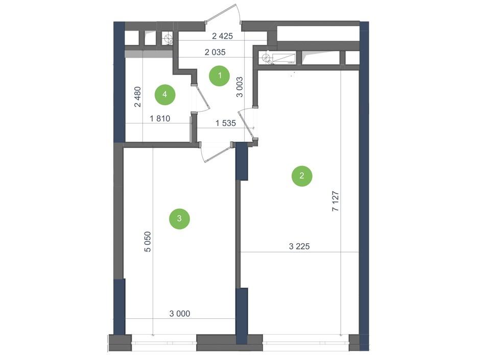 Планування 1-кімнатної квартири в ЖК «Метрополіс» 47.25 м², фото 224956