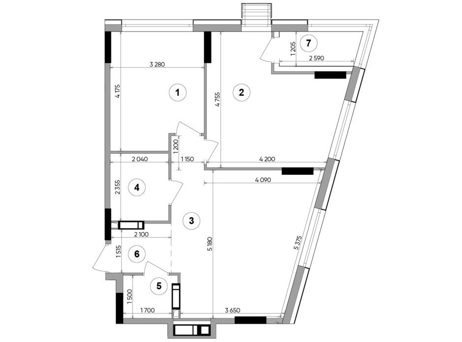 Планування 2-кімнатної квартири в ЖК Lucky Land 69.24 м², фото 224959