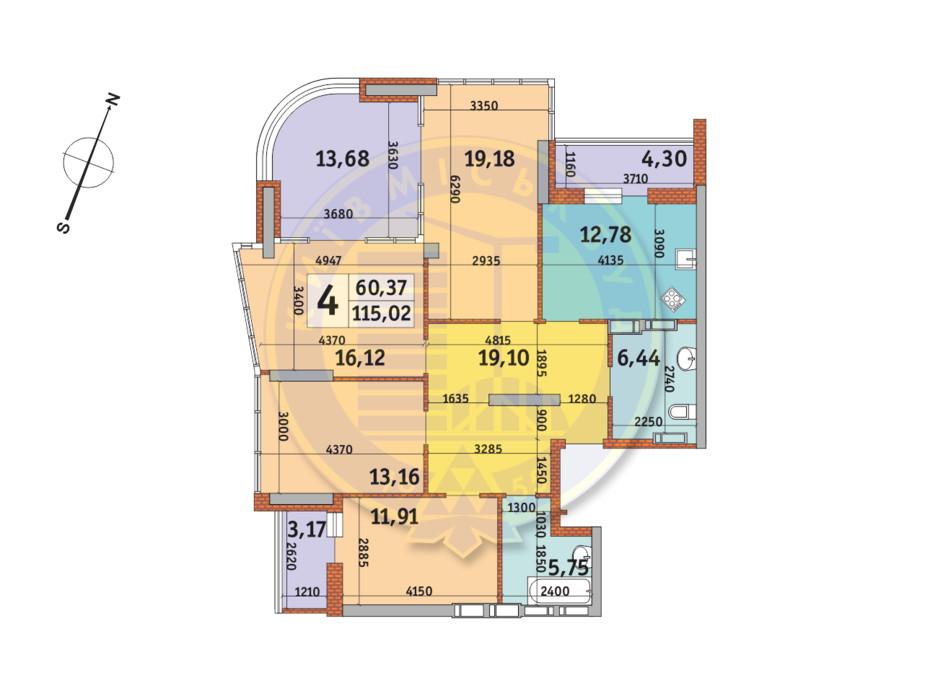 Планировка 4-комнатной квартиры в ЖК Урловский-2 115.02 м², фото 224964