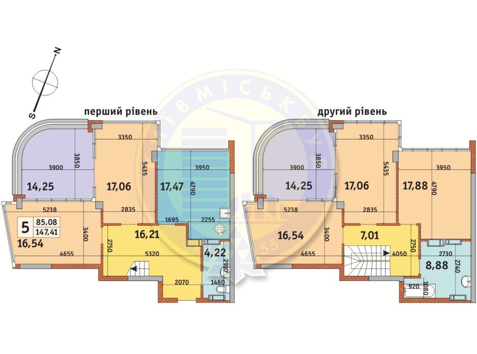 Планировка многоуровневой квартиры в ЖК Урловский-2 147.41 м², фото 224965
