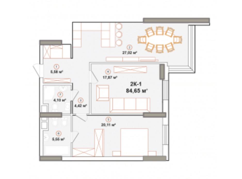 Планування 2-кімнатної квартири в ЖК Edelweiss House 84.74 м², фото 225053