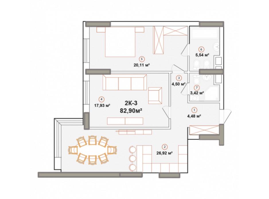 Планування 2-кімнатної квартири в ЖК Edelweiss House 82.9 м², фото 225054