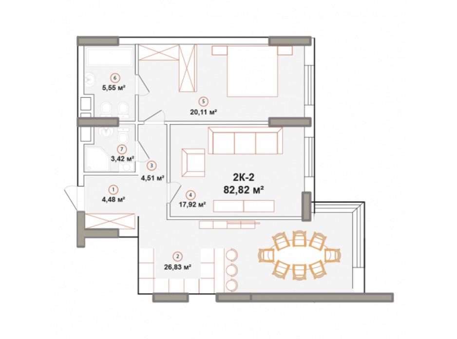 Планування 2-кімнатної квартири в ЖК Edelweiss House 81.25 м², фото 225055
