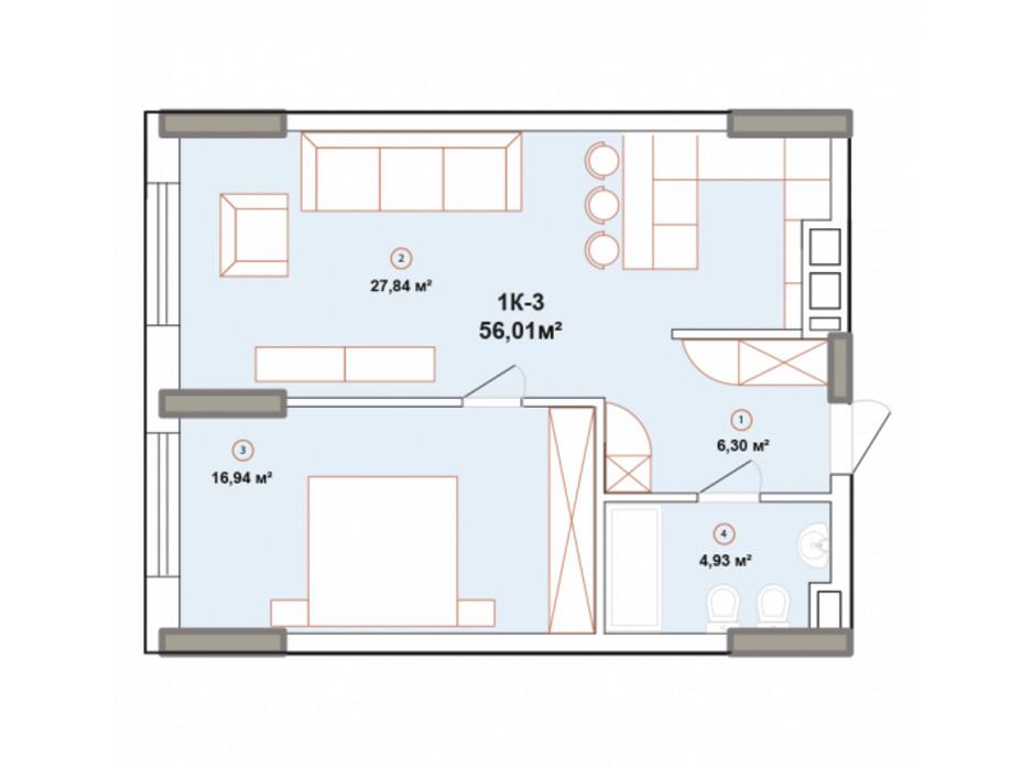 Планування 1-кімнатної квартири в ЖК Edelweiss House 56.01 м², фото 225056