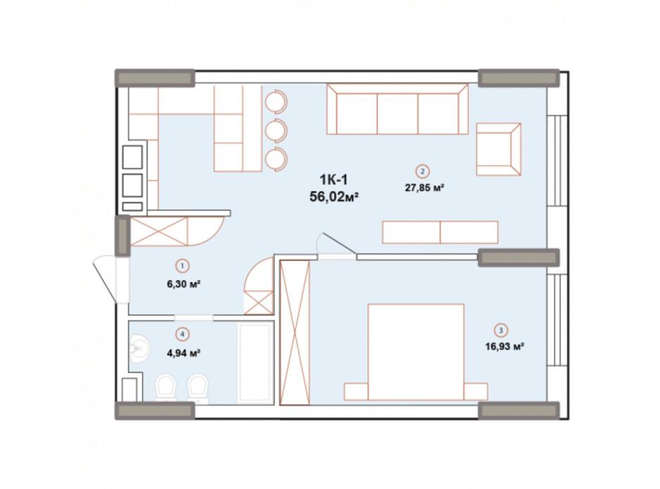 Планування 1-кімнатної квартири в ЖК Edelweiss House 56.02 м², фото 225057