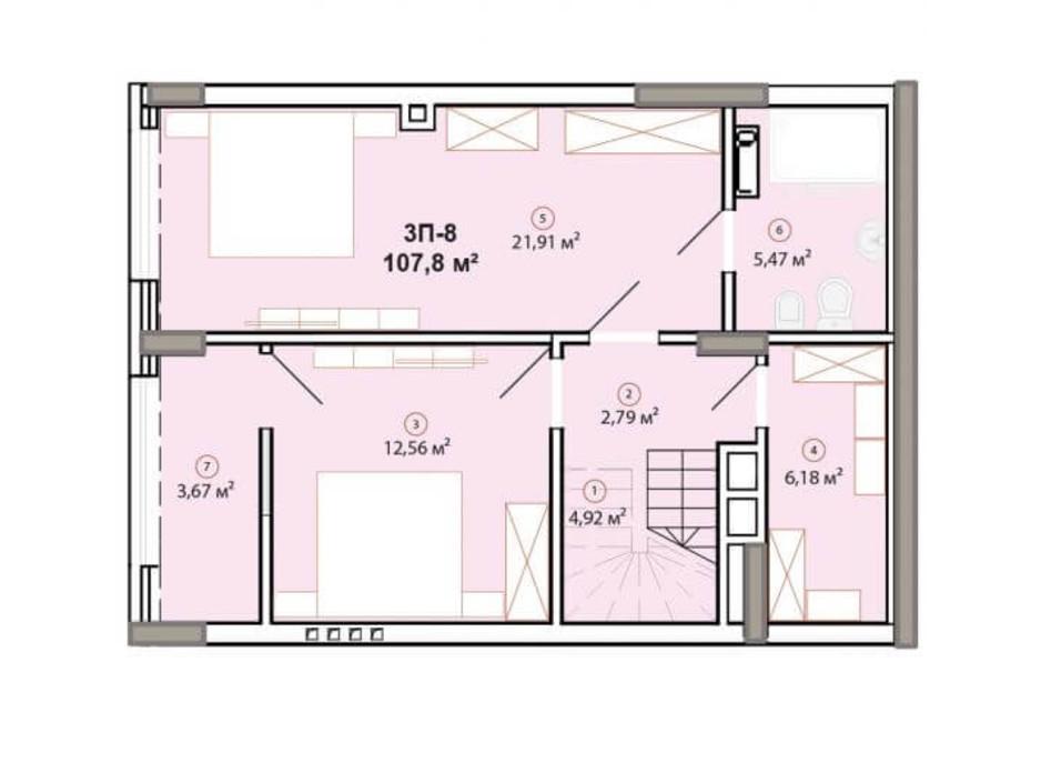 Планування багаторівневої квартири в ЖК Edelweiss House 107.8 м², фото 225061