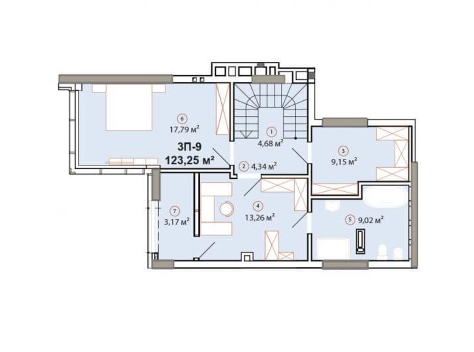 Планування багаторівневої квартири в ЖК Edelweiss House 123.25 м², фото 225064