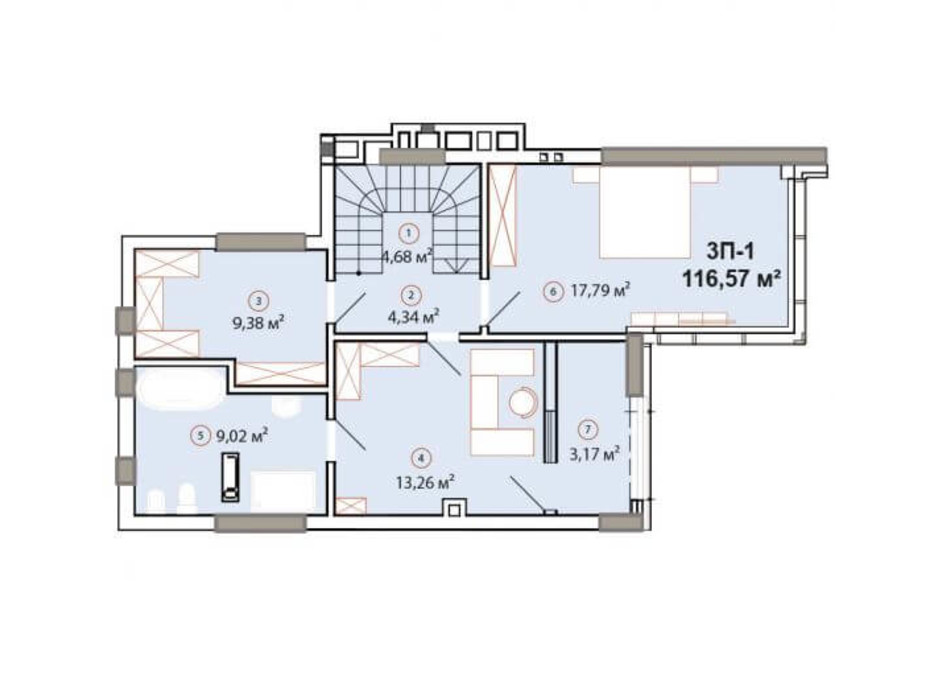 Планування багаторівневої квартири в ЖК Edelweiss House 116.57 м², фото 225066