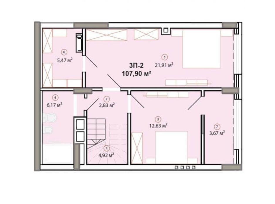 Планування багаторівневої квартири в ЖК Edelweiss House 107.9 м², фото 225068
