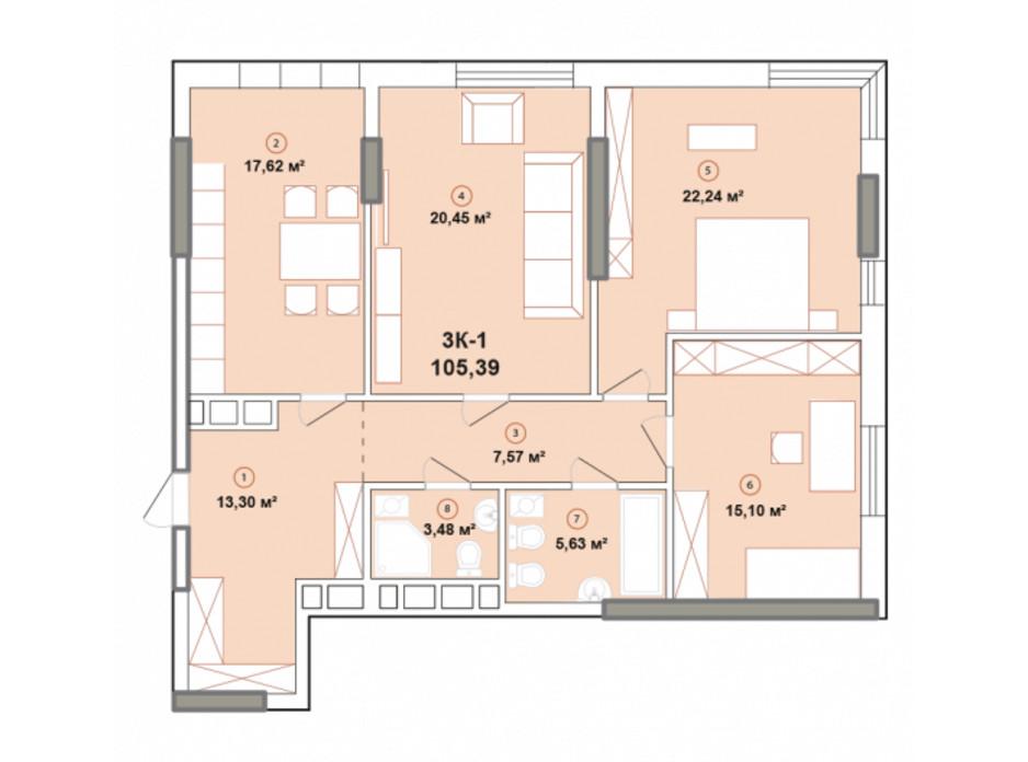 Планування 3-кімнатної квартири в ЖК Edelweiss House 105.39 м², фото 225071