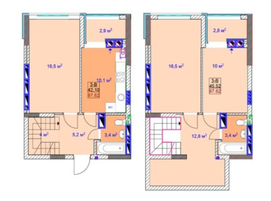 Планировка многоуровневой квартиры в ЖК Sky 92.7 м², фото 225130