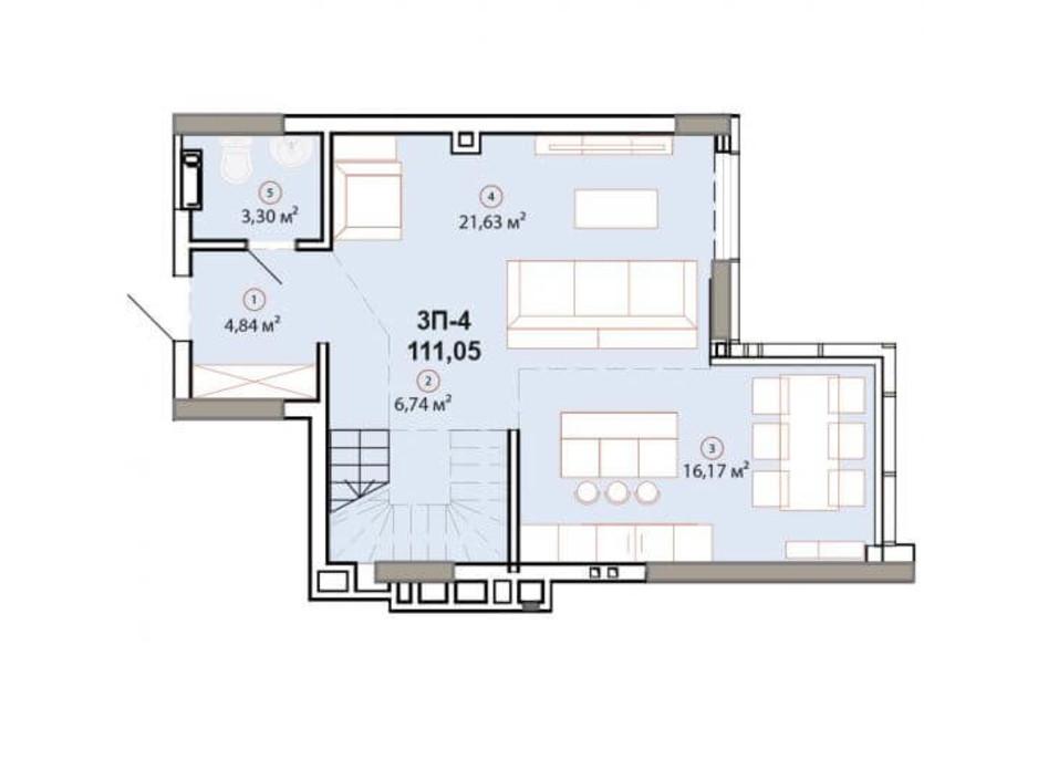 Планування багаторівневої квартири в ЖК Edelweiss House 111.05 м², фото 225137